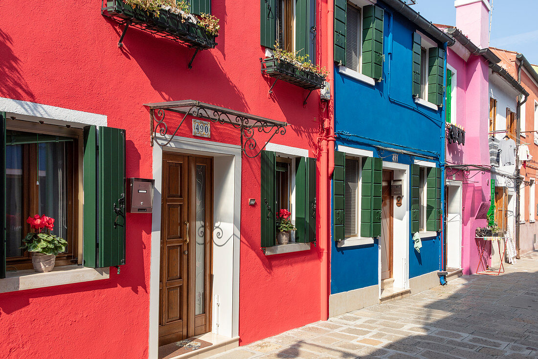 Colorful houses on Burano in the Venice lagoon, Veneto, Italy
