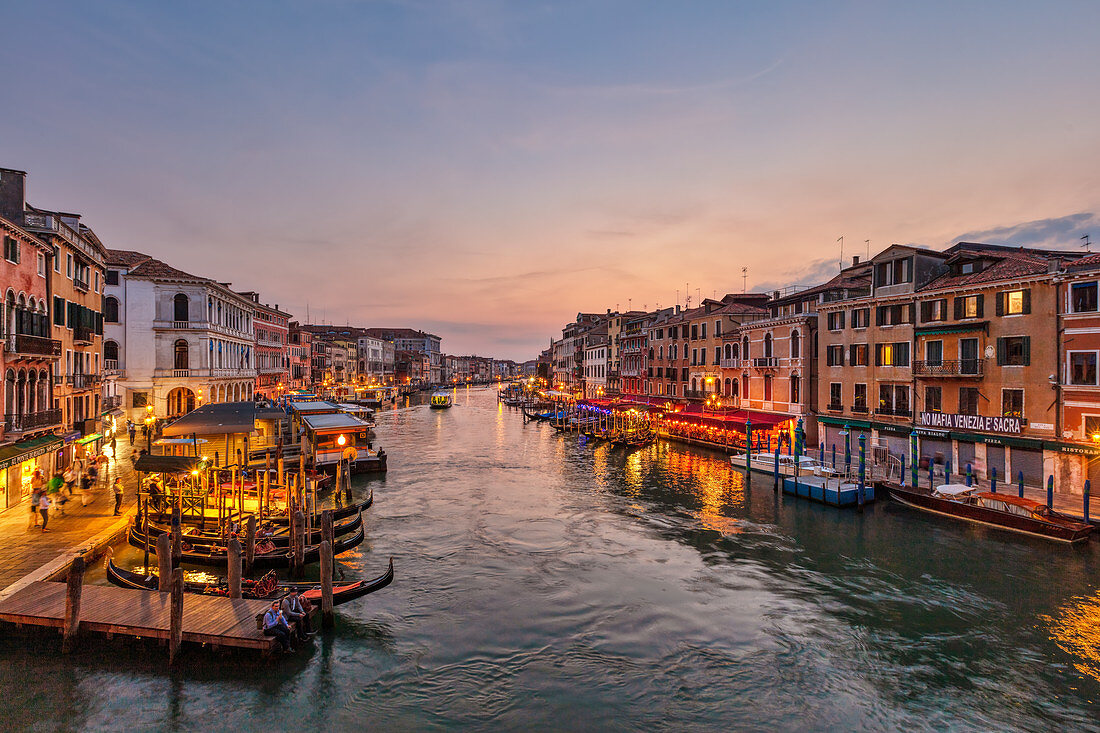 Grand Canal with illumination after sunset from Rialto Bridge in Venice, Veneto, Italy
