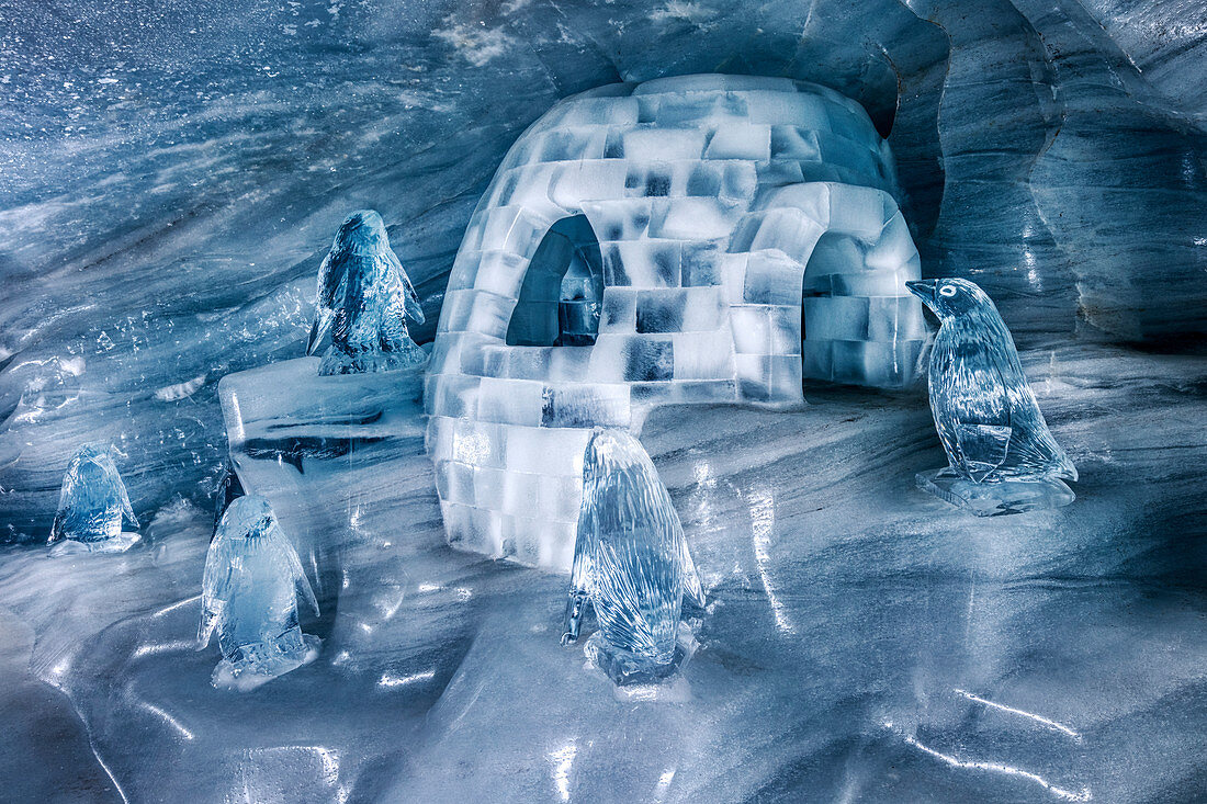 Iglo and ice sculptures in the ice palace at Jungfraujoch, Valais, Switzerland