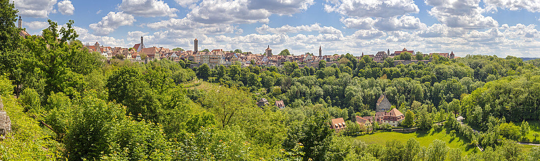 View from Burggarten to Rothenburg ob der Tauber, Panorama, Middle Franconia, Bavaria, Germany