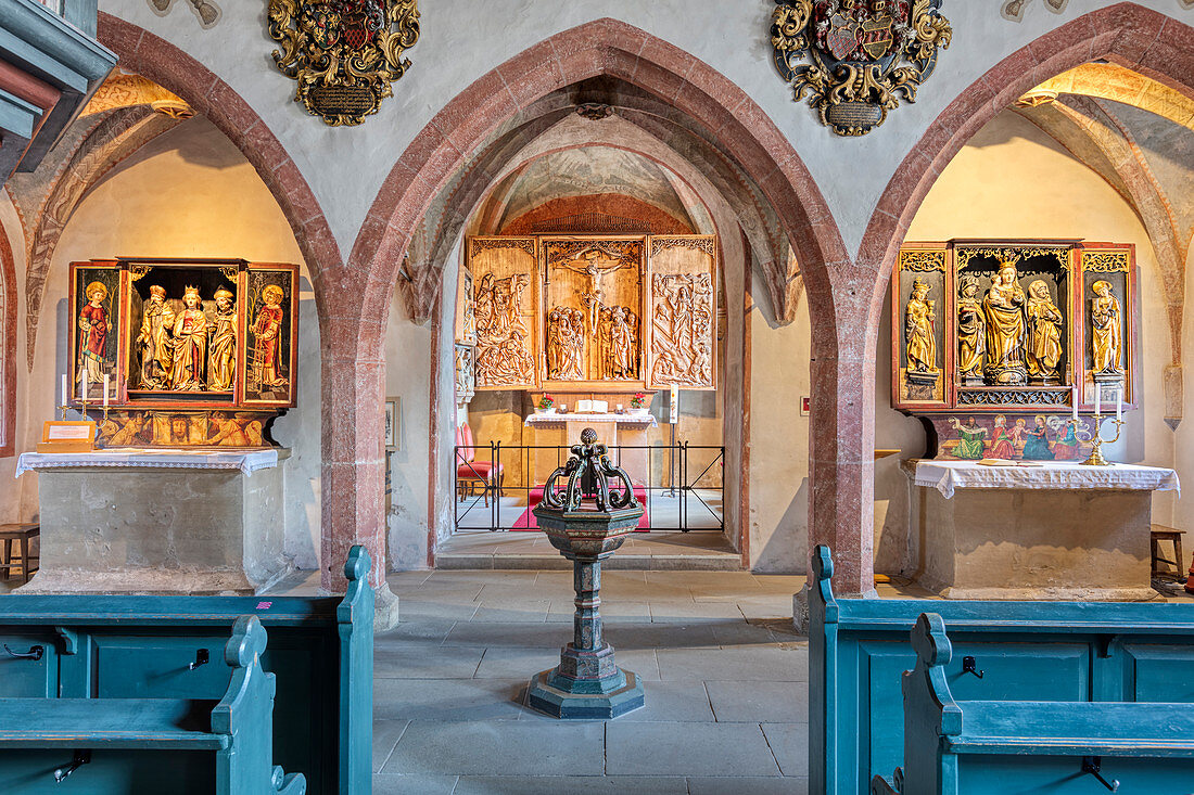 Riemenschneider wooden altar of St. Peter and Paul Church in Detwang, Middle Franconia, Bavaria, Germany