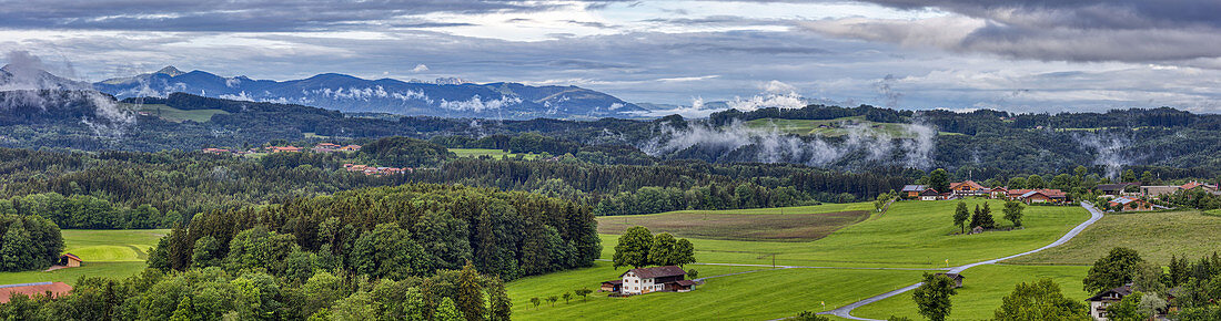 View in west direction with fog clouds from Irschenberg, panorama, Bavaria, Germany