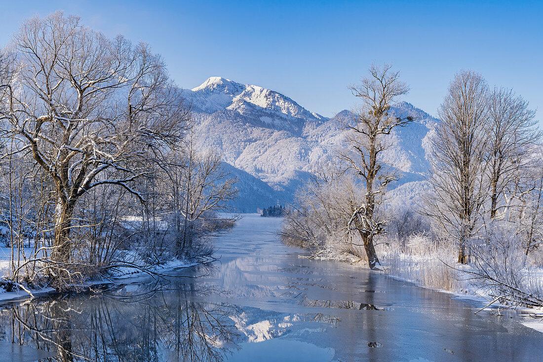 Winter on the Loisach, Kochel am See, Bavaria, Germany, Europe