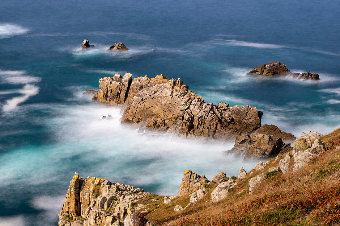 Steep coast in Brittany, Cornouaille, France, Europe