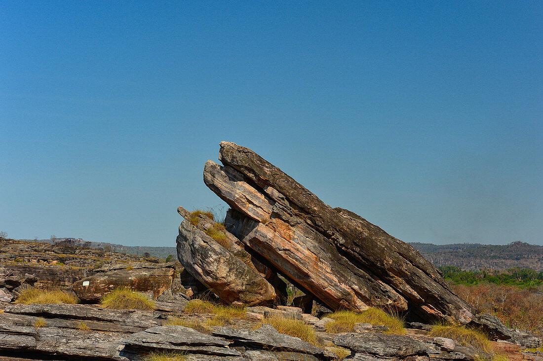 Inclined rock formation, Kakadu National Park, Jabiru, Northern Territory, Australia