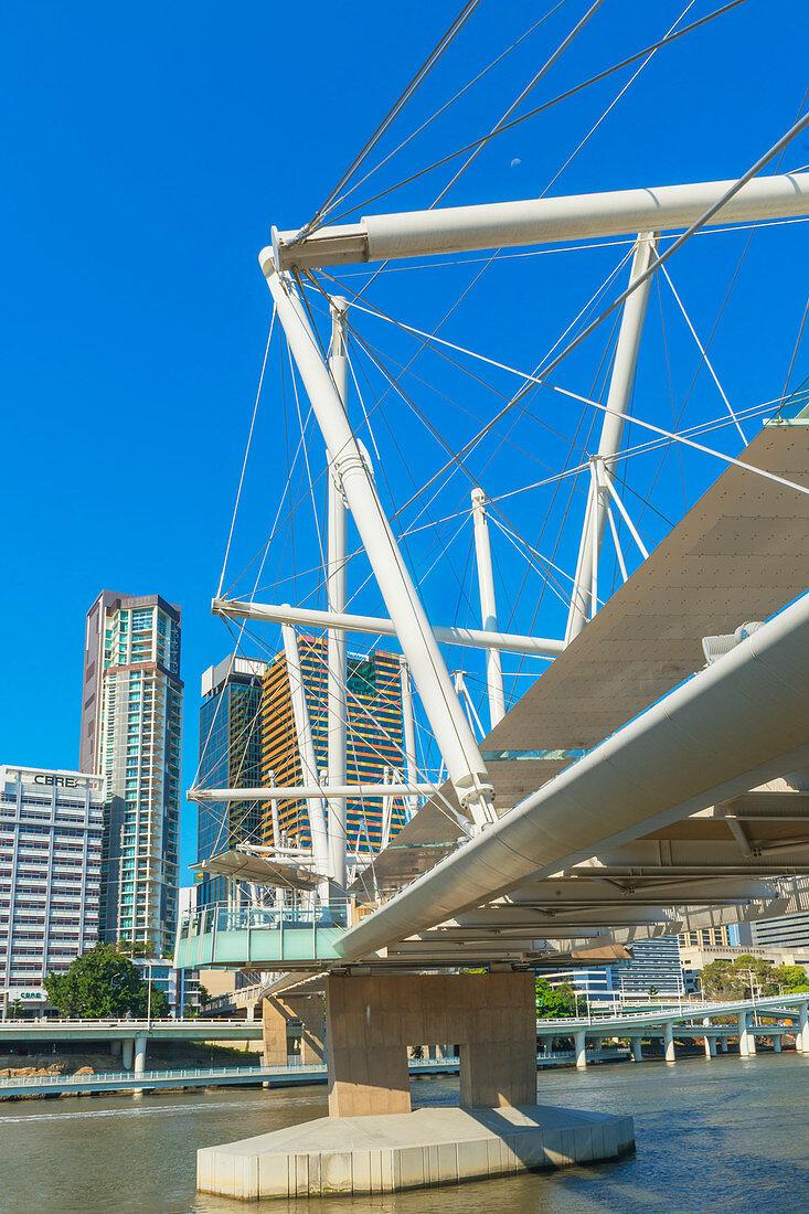 Kurilpa bridge, footbridge crossing the Brisbane River, Brisbane, Queensland Australia