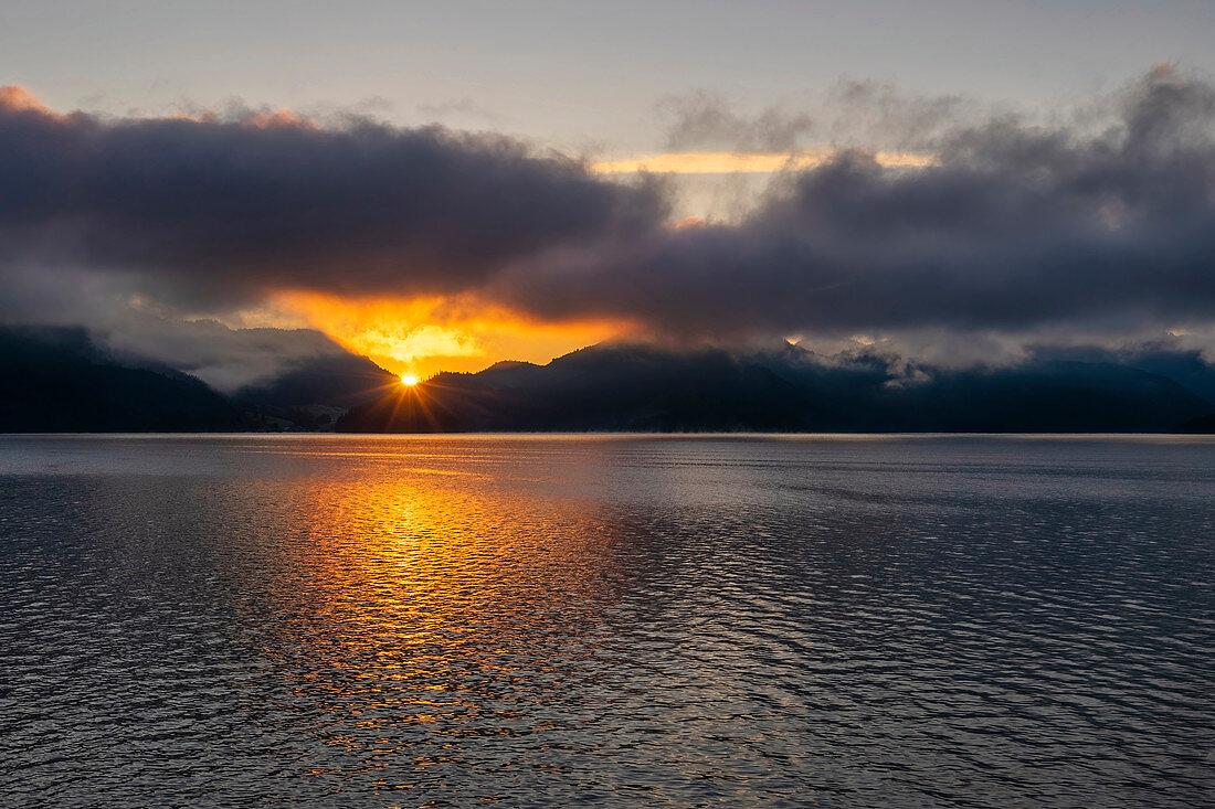 Sunrise over Lake Walchensee, Bavaria, Germany, Europe