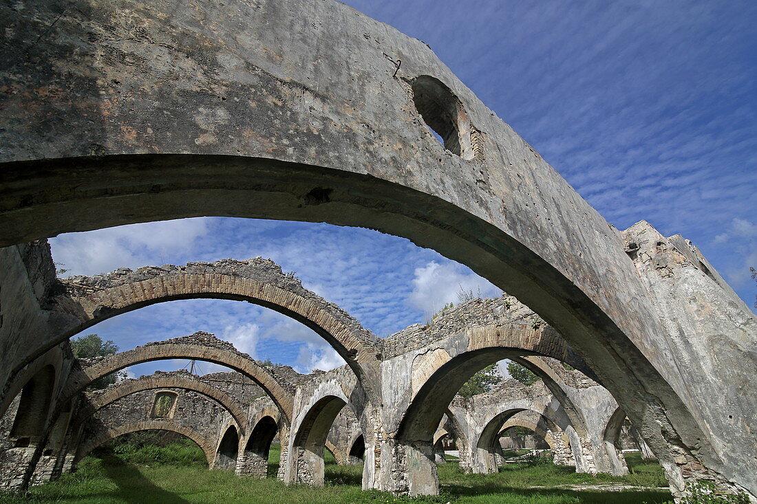 Ruin of the old Venetian shipyard in the place Gouvia, Corfu Island, Ionian Islands, Greece