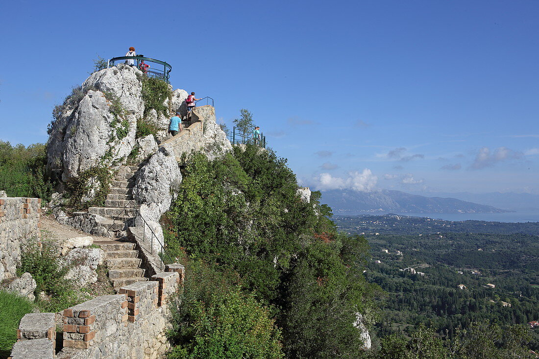 Kaizer's Throne, one of the island's most popular viewpoints, sits high above Pelekas, Corfu Island, Ionian Islands, Greece
