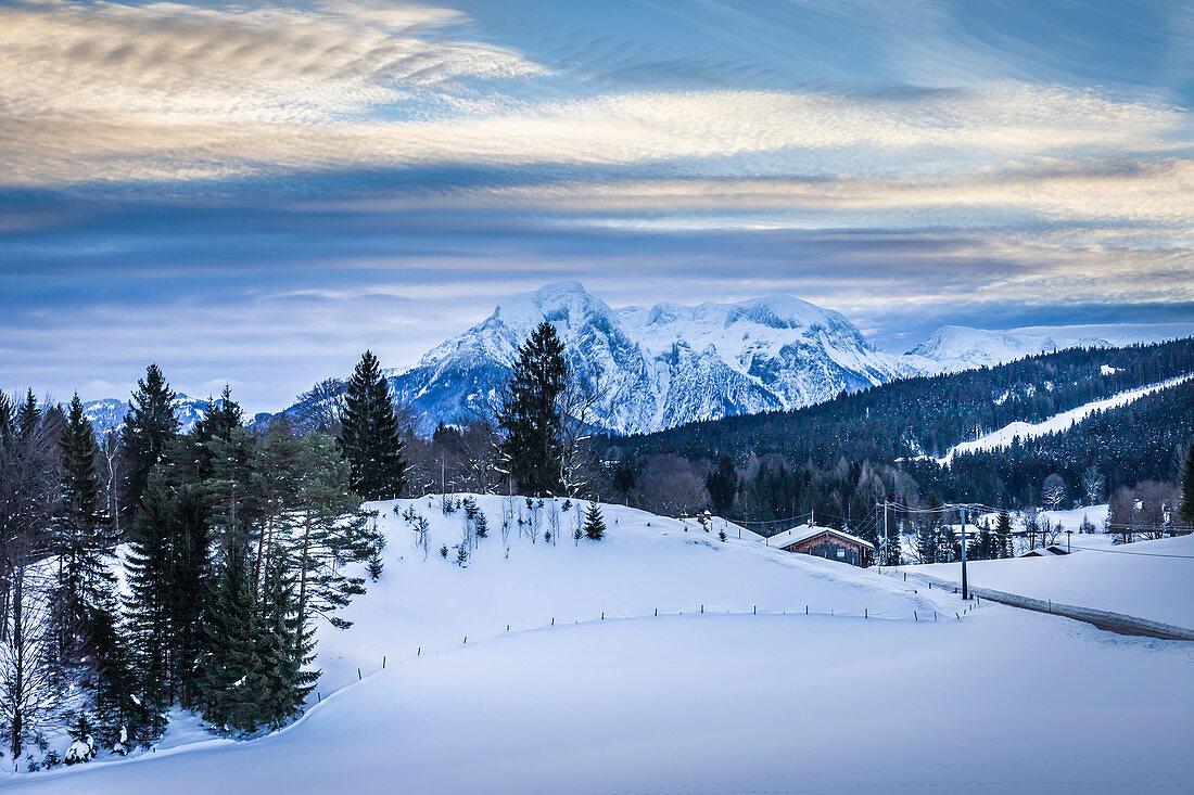 Winter landscape near Bischofswiesen, Upper Bavaria, Bavaria, Germany