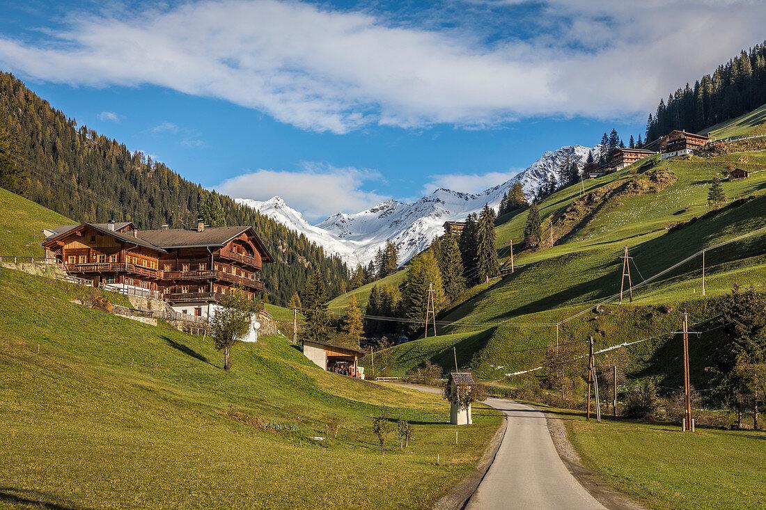 Old mountain farms in the rear Villgratental, Innervillgraten, East Tyrol, Tyrol, Austria