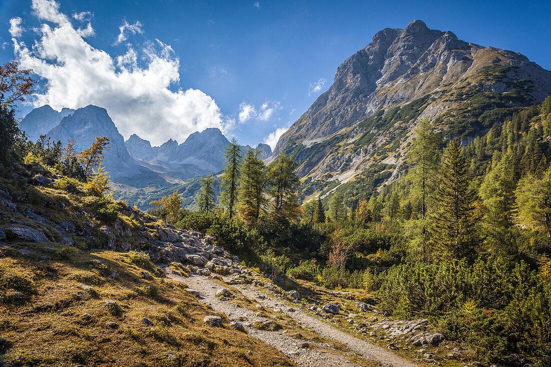 Weg zum Seebensee im Gaistal mit Blick zum Rauher Kopf, Ehrwald in Tirol, Tirol, Österreich