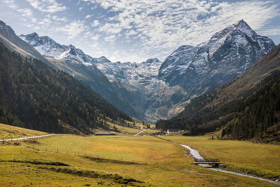 Lüsenstal with Lüsener Fernerkogel (3,299 m), St. Sigmund im Sellrain, Stubai Alps, Tyrol, Austria