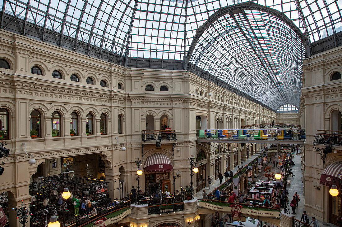 Interior view of department store and GUM shopping arcade, Moscow, Russia, Europe