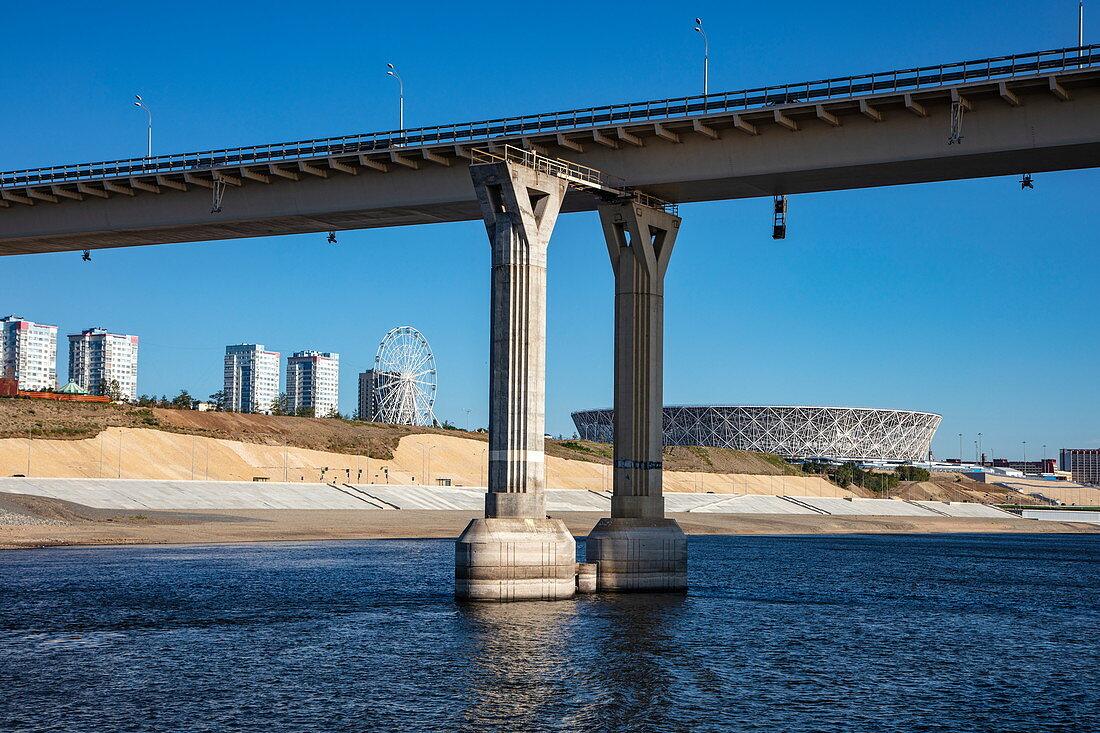 Bridge and Volgograd Stadium seen from Volga River, Volgograd, Volgograd District, Russia, Europe