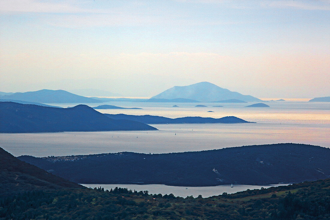 View from the mountains above Vafkeri over islands south of Lefkada, Ionian Islands, Greece