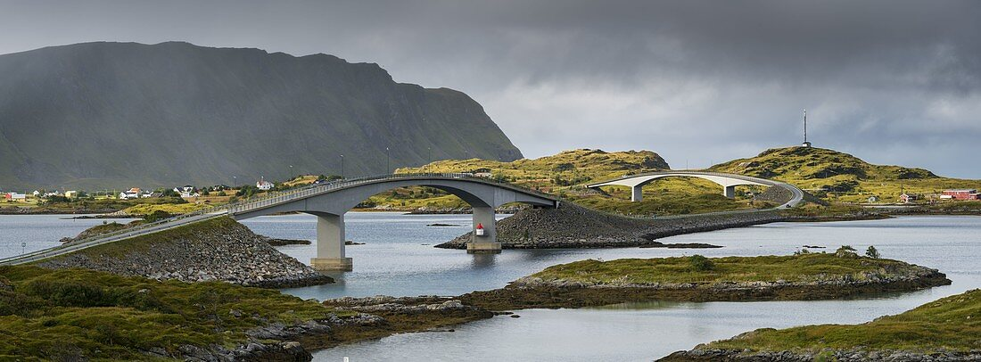 Bridge at Fredvang, Moskenesoya, Lofoten, Nordland, Norway
