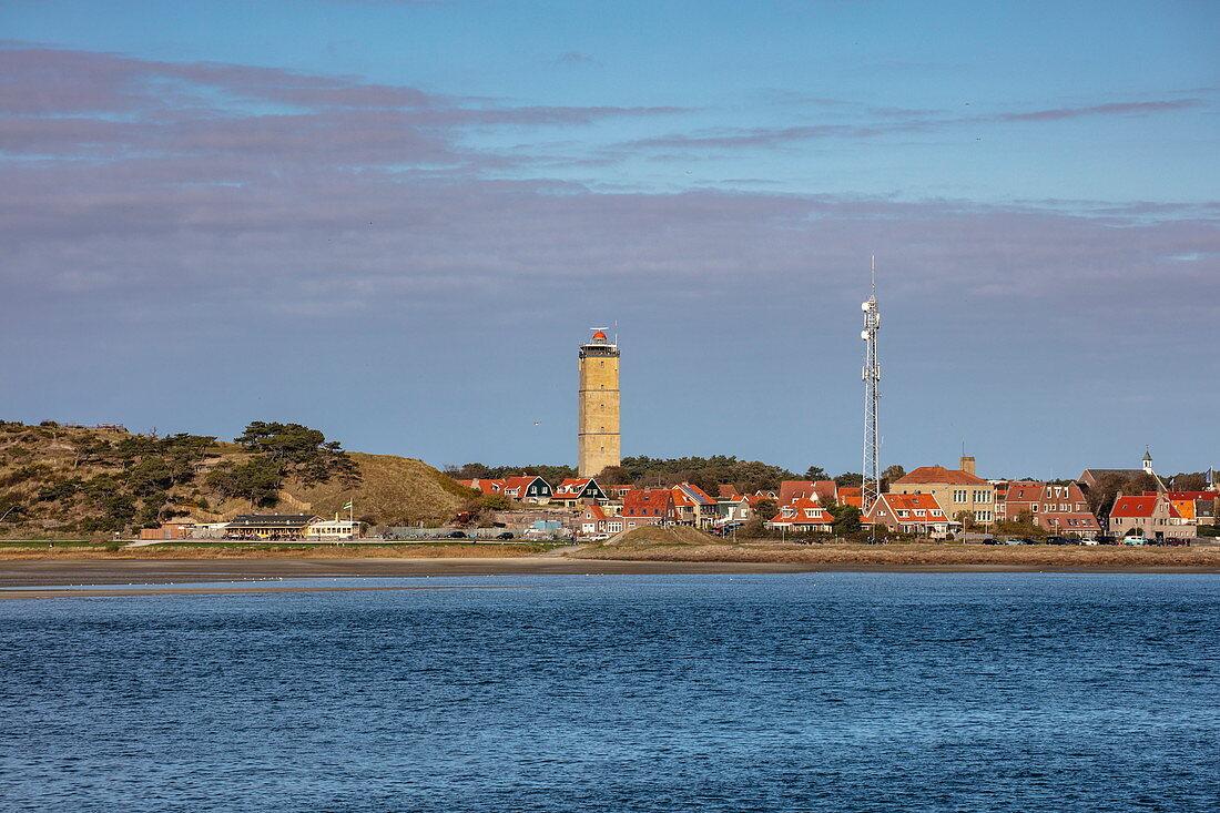 Coast and lighthouse Brandaris seen from the ferry, West Terschelling, Terschelling, West Frisian Islands, Friesland, Netherlands, Europe