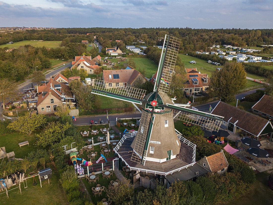 Aerial view of the Koffiemolen windmill and farm buildings, Formerum, Terschelling, West Frisian Islands, Friesland, Netherlands, Europe