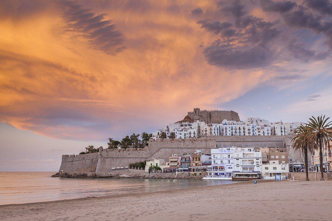 Spain,Valencian Community,Peniscola,Historical town at coastline at dusk