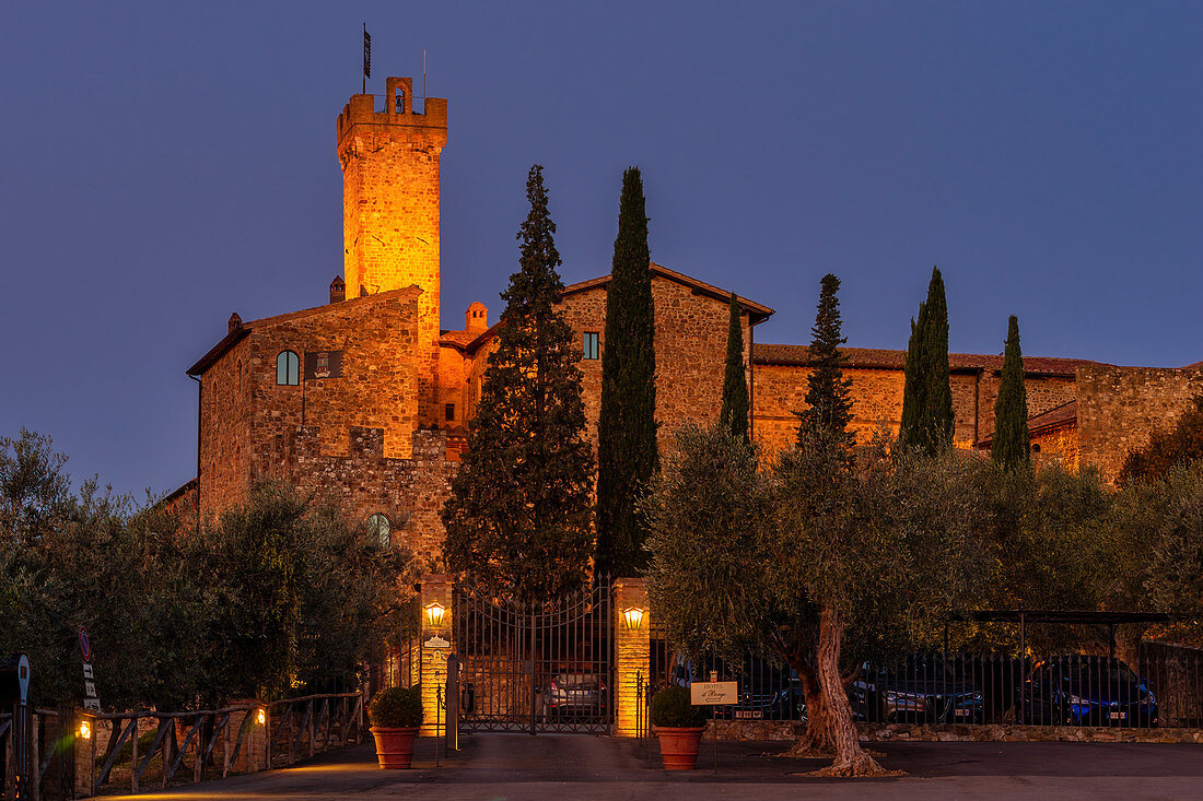 Castello Banfi in the early morning, Grosseto Province, Tuscany, Italy