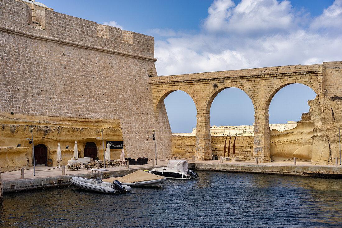 Restaurant with a small, idyllic harbor, Kalkara, Valetta, Malta, Europe