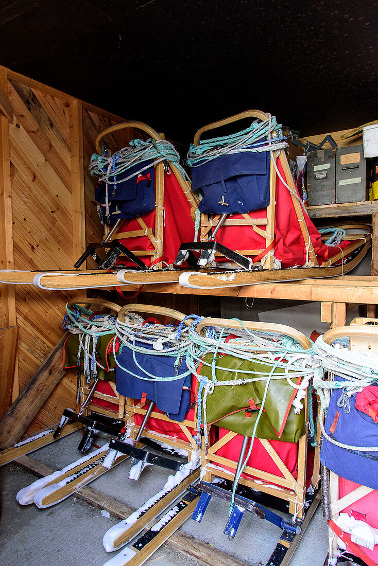 Various sledges in the warehouse, Björn Klauer's husky farm, Bardufoss, Norway
