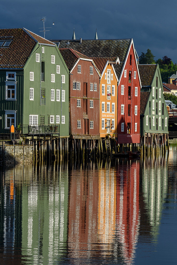 On the river Nidelv with old warehouses, Trondheim, Norway