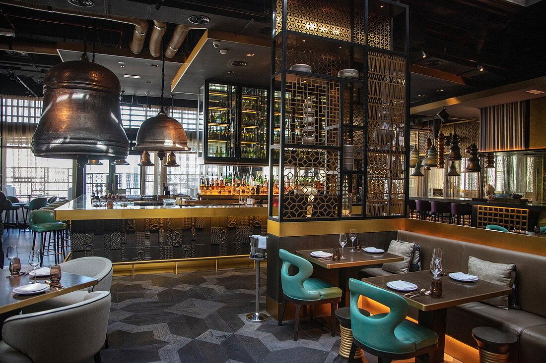 Stylish interior of Tamba Restaurant, Abu Dhabi, Abu Dhabi, United Arab Emirates, Middle East