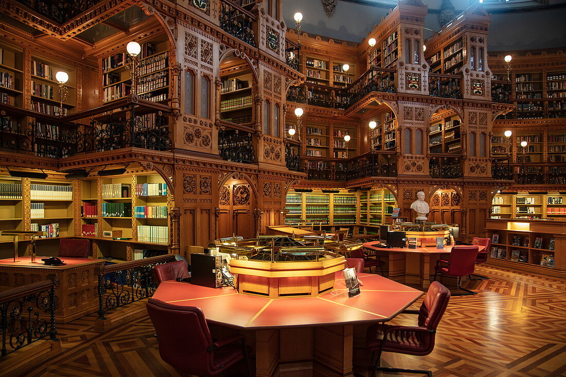Library of Parliament in the Parliament House, Ottawa, Ontario, Canada, North America