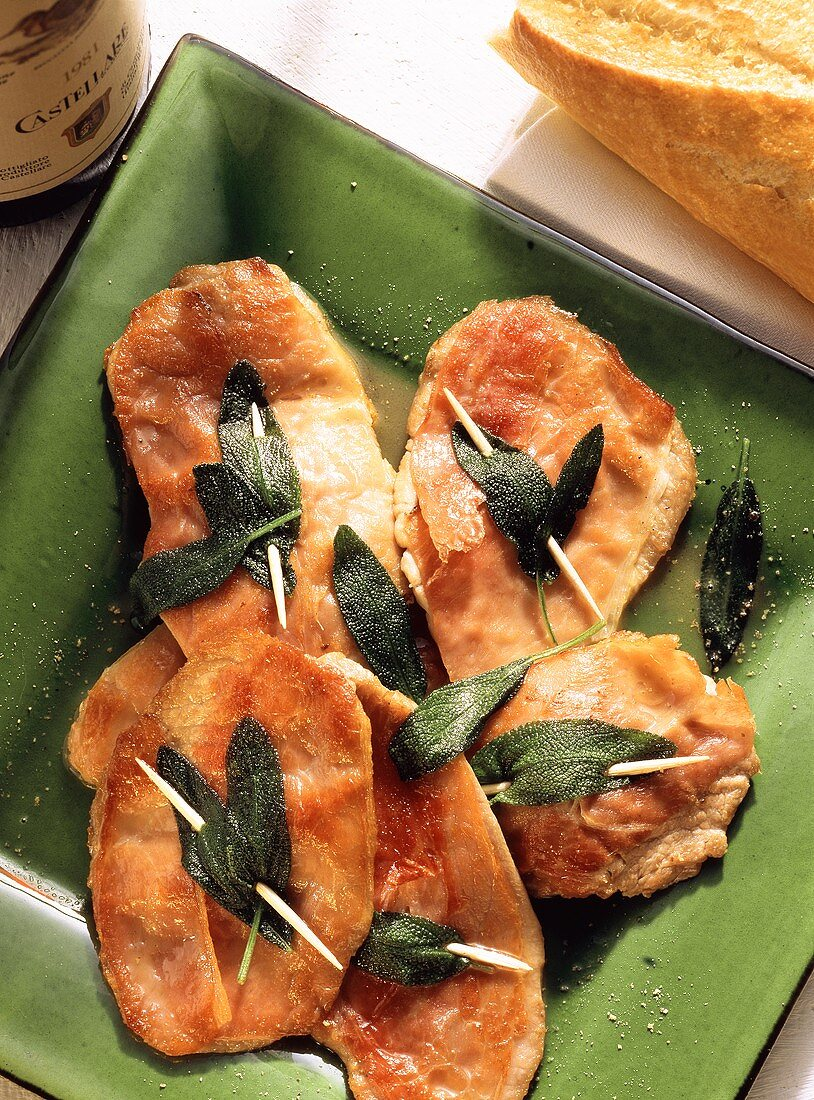 Saltimbocca alla romana (veal escalopes with sage, Italy)