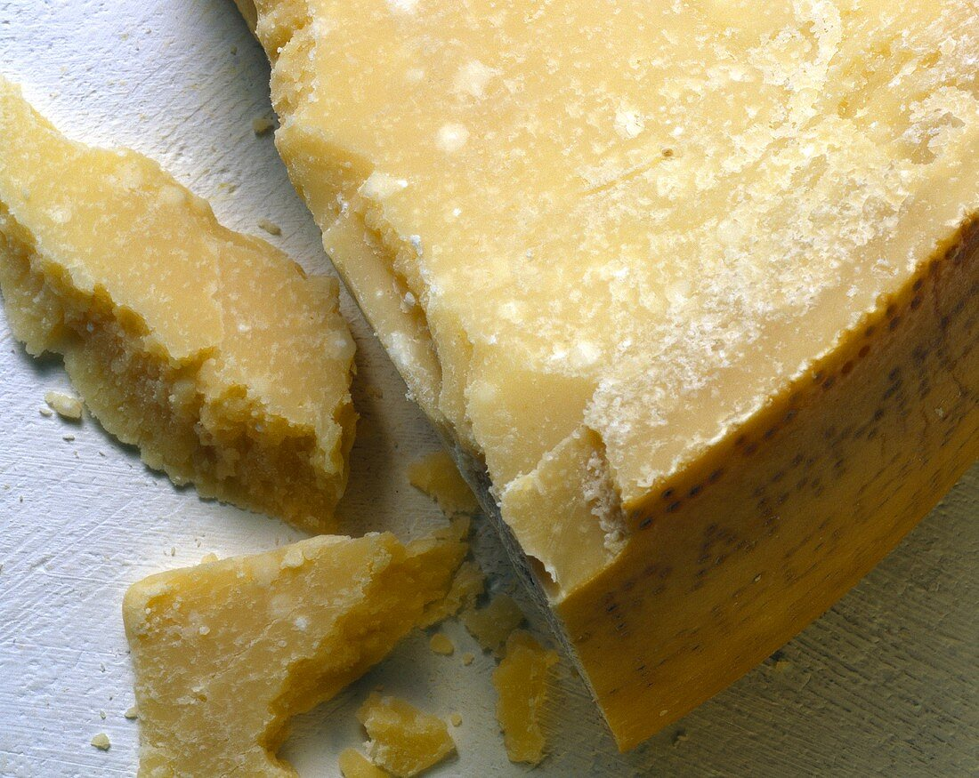 Close Up of a Block of Parmesan Cheese