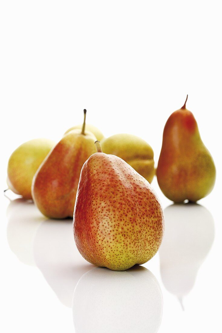 Several Forelle pears on white background