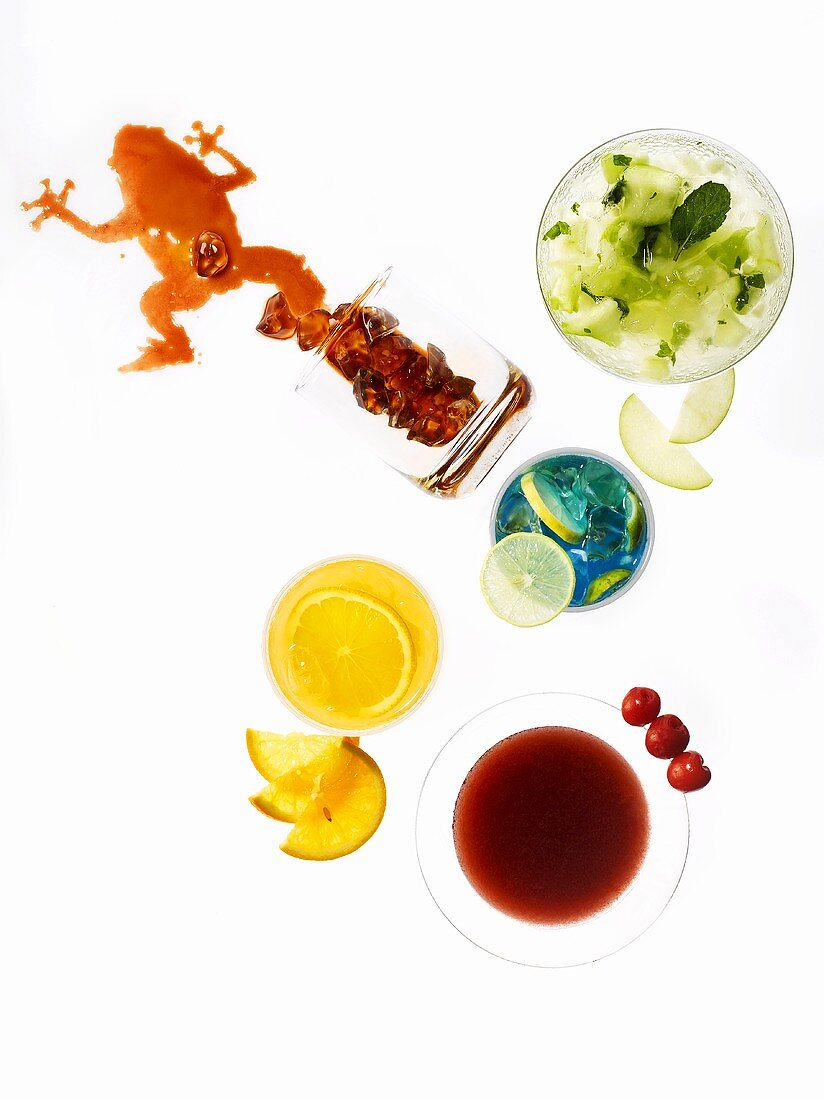 Various drinks, seen from above