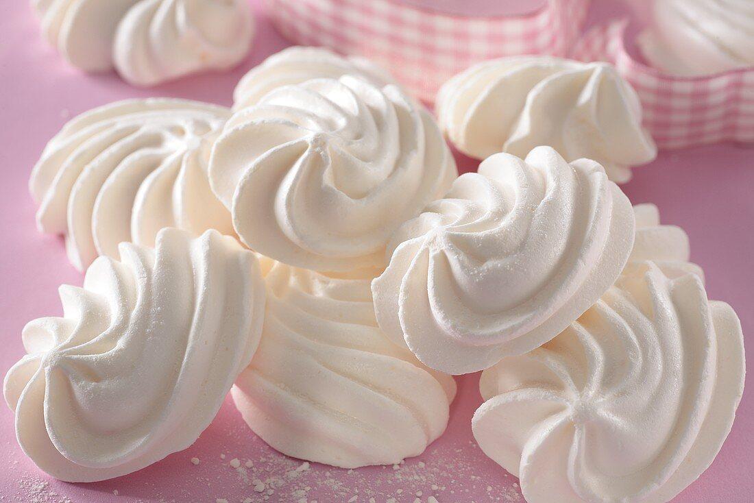 Mini meringues and checked ribbon