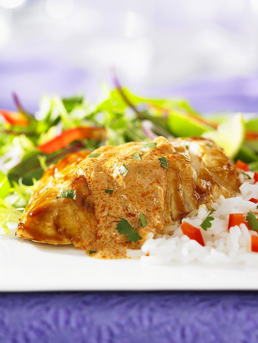 Grouper with red curry sauce and rice (Thailand)