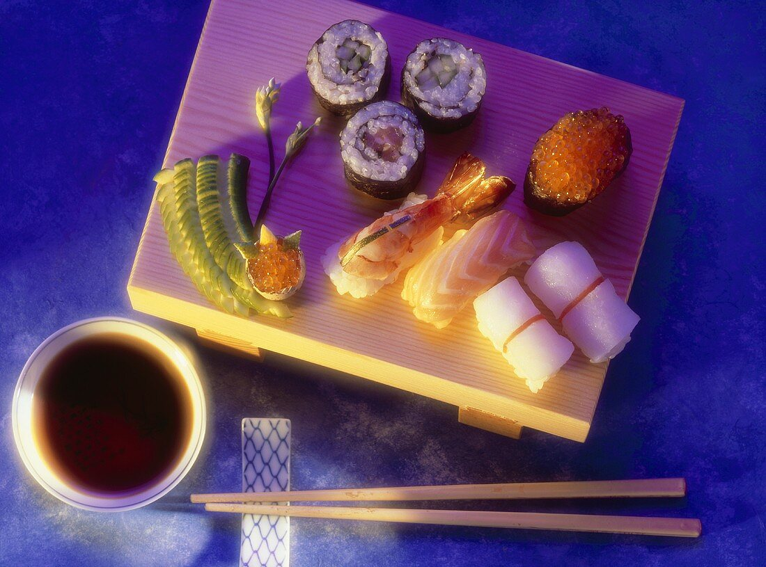 Assorted Sushi on wooden Platter