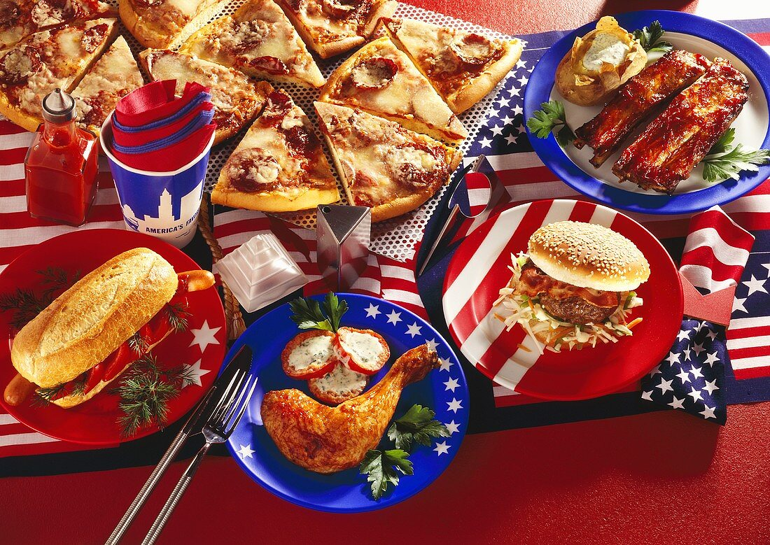 American food: hot dogs; pizza; hamburger