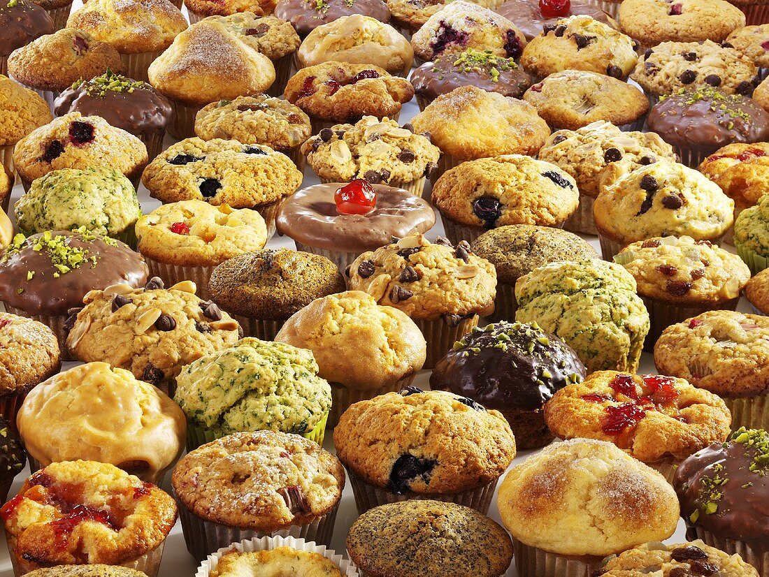 Lots of muffins (filling the picture)