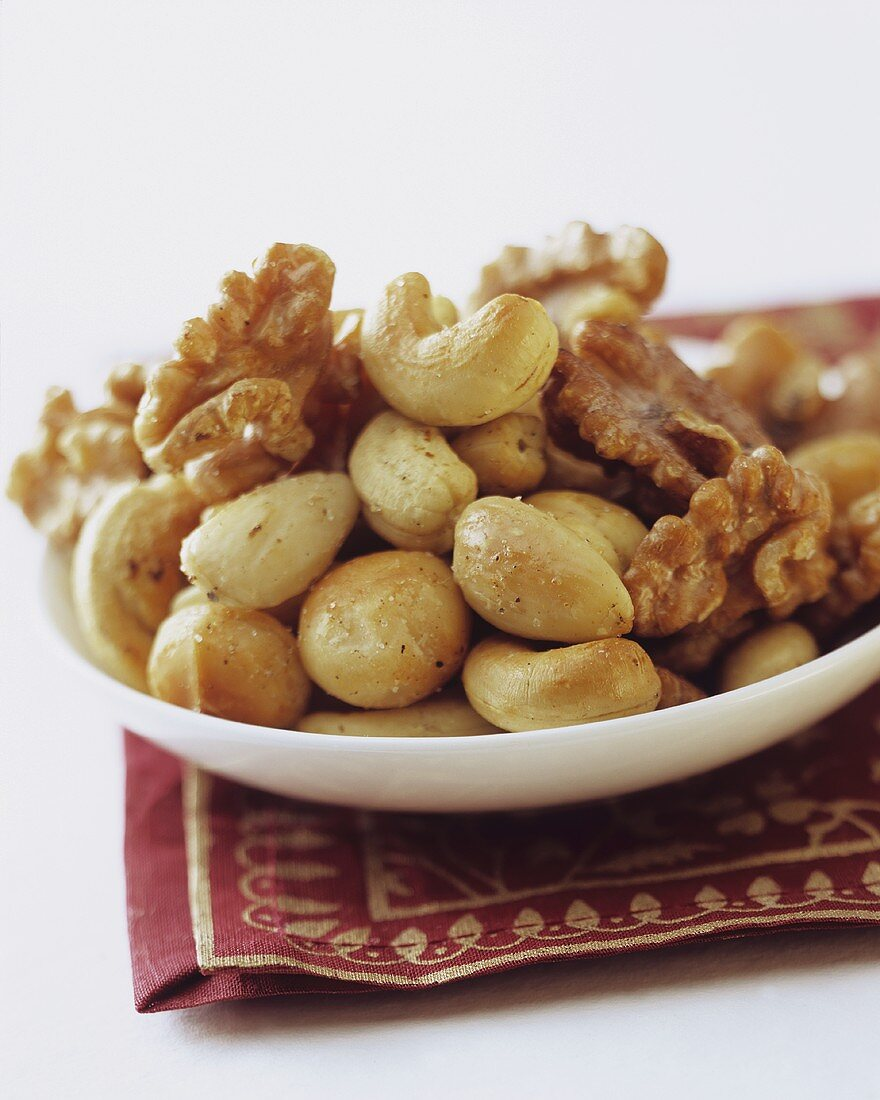 Seasoned nuts on plate