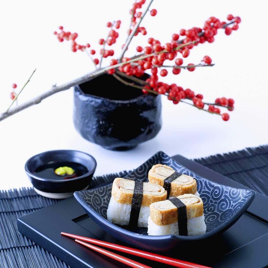 Tamago nigiri (Sushi with omelette, Japan)