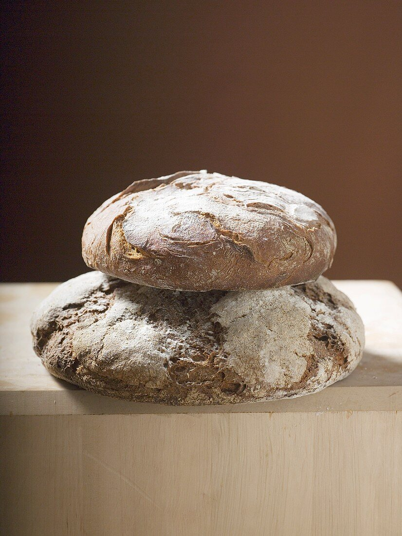 Two loaves of farmhouse bread