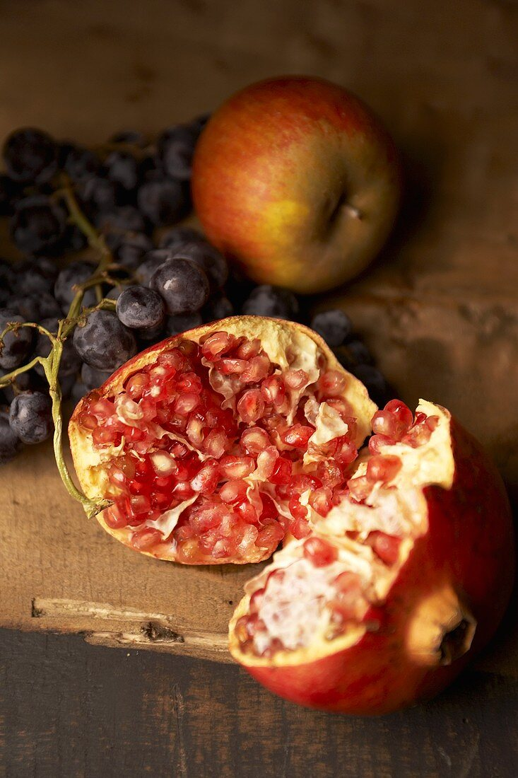 Fruit still life with pomegranate
