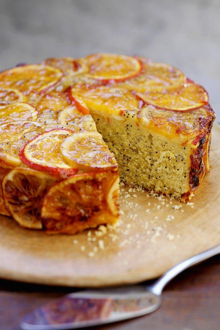 Orange poppy seed cake, a piece taken