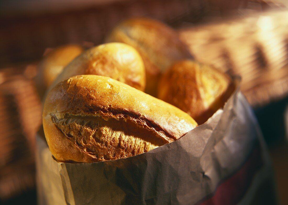 Fresh bread rolls in paper bag