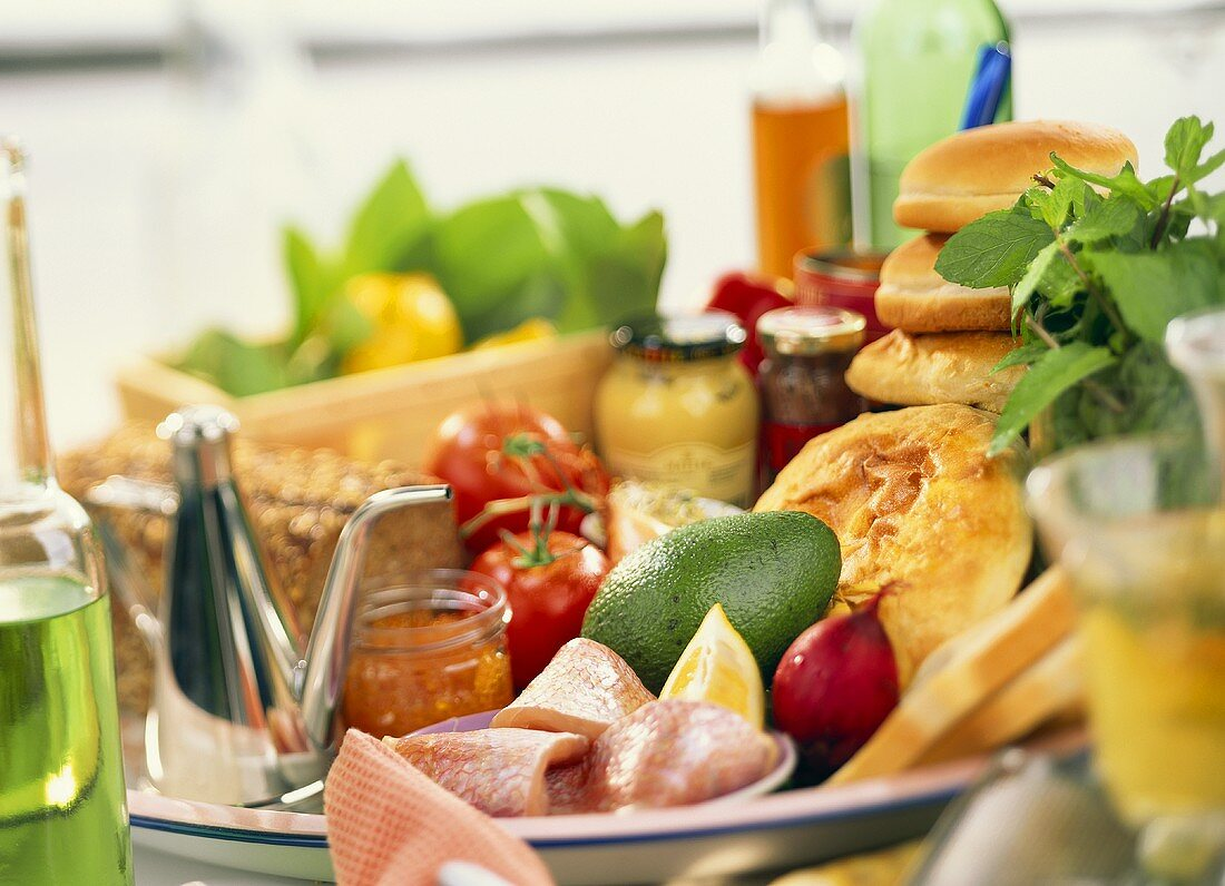 Ingredients for bocadillos (Spanish sandwiches)