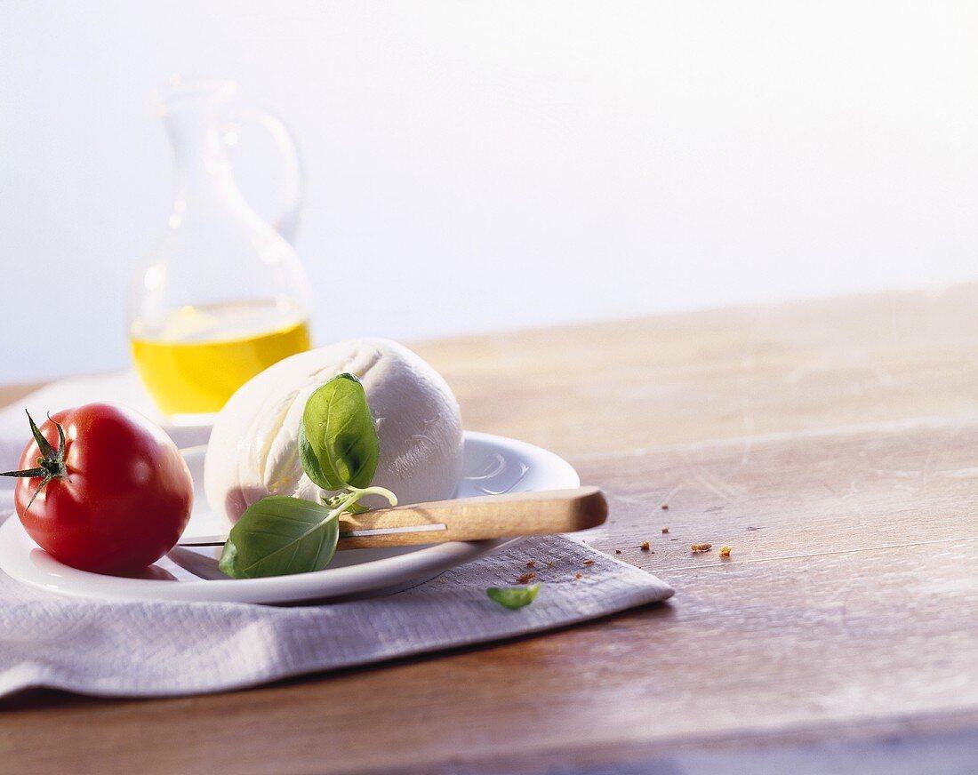 Ingredients for Caprese: mozzarella, basil, tomato & olive oil