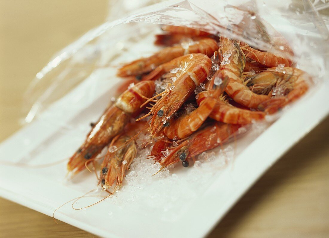 King prawns with ice in packaging