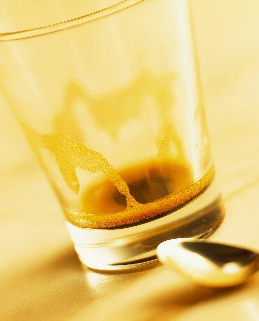 Coffee dregs in glass