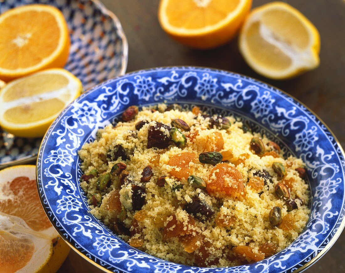 Sweet couscous with fruit and pistachios